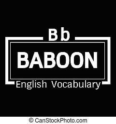 BABOON english word vocabulary illustration design
