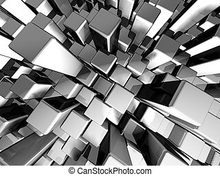 Abstract dynamic metal block background with reflection 3d...