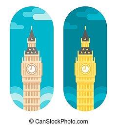 Flat design Big Ben illustration vector