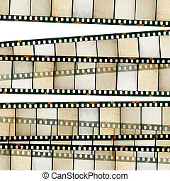 Vintage 35mm film stripes background. Isolated on white.