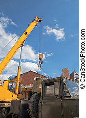 boom truck crane with hanging hook