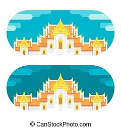 Flat design thai temple