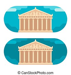 Flat design Parthenon illustration vector