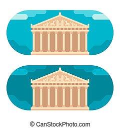 Flat design Parthenon illustration vector