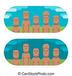 Flat design moai easter illustration vector
