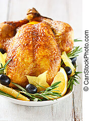 Whole roasted chicken - Holiday roasted lemon chicken with...