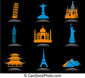 International landmark icons - 2 - Icon set with famous...