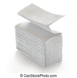 Paper napkins and towels in closeup on white