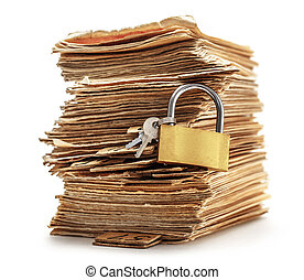 Pile of old cards with keylock in closeup