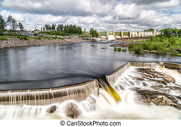 Hydropower Plant in Stornorrfors, Sweden with a cloudy sky
