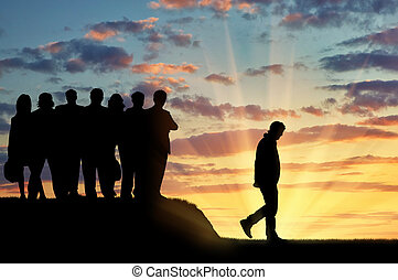 Silhouettes of people crowd expel the man from their...