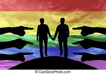 silhouette, mani, mostra, condemning, gaio, coppia,