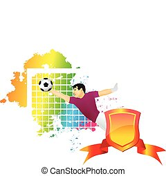 The football goalkeeper catches
