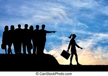 silhouette, di, Persone, folla, donna, espulso, da, loro,...