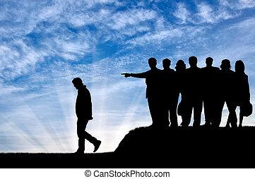silhouette, di, Persone, folla, espellere, il, uomo, da,...