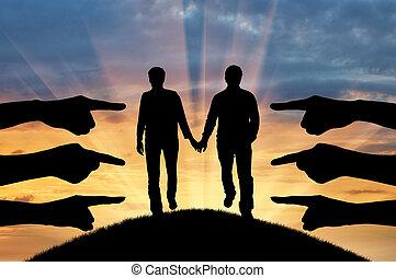 silhouette, gaio, mostra,  condemning, mani, coppia