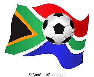 South Africa Flag & Soccer Ball