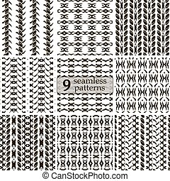 Set of seamless patterns with roundish elements and...