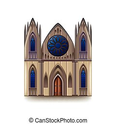 Gothic cathedral isolated on white vector - Gothic cathedral...