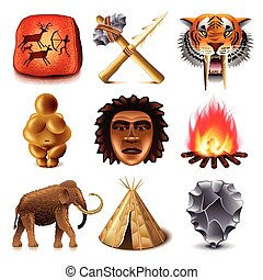 Prehistoric people icons vector set - Prehistoric people...