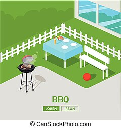 House Backyard Barbecue. BBQ Party Isometric Illustration.