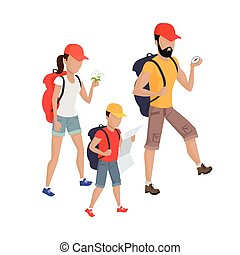 Family Hiking Concept Illustration.