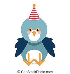 Cute blue bird with party hat
