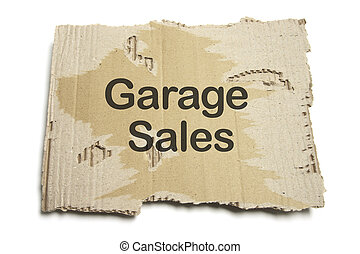 Garage Sales Sign on White Background