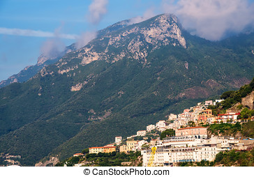Salerno, Italy - Magestic mountains and Amalfi coastline in...