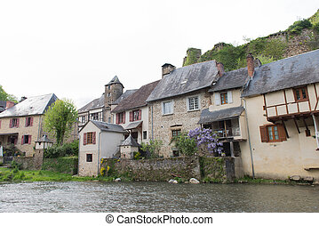 Half timbered houses in Segur-le-Chateau - River the...