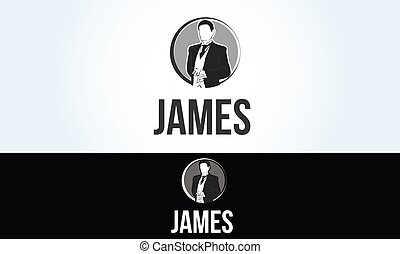 waiter butler james logo service restaurant illustration