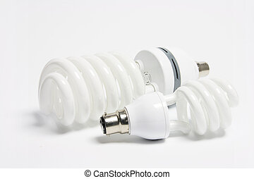 Compact Fluorescent Lightbulbs on White Background