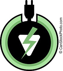 green electric power icon - Creative design of green...