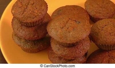 Tasty muffins on a plate