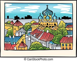 Vector night Medieval Old Town, Tallinn, Estonia - Toompea...