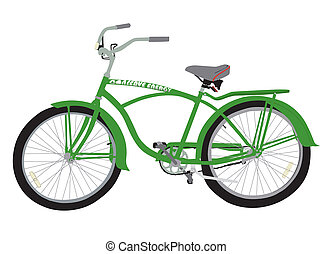 Conserve Energy Bicycle - Green two wheel bicycle on white...