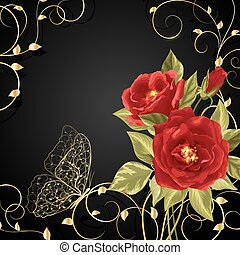 Bouquet of red roses with gold buttetfly