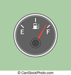 Fuel sensor illustration on the green background. Vector...