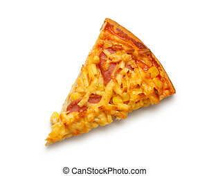 Slice of home pizza with cheese on white background