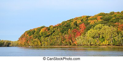Fall Colors Along the St. Croix River - Panoramic View of...