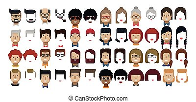 illustration set avatars female and male faces - Stock...