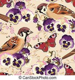 Seamless pansy and bird - Vintage pansy and bird vector...
