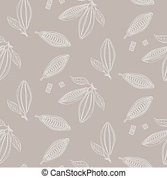 Cocoa beans outline seamless pattern. Chocolate taupe...