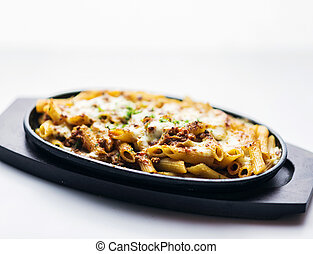 baked penne pasta bolognaise bolognese beef sauce with...