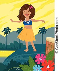 Hula Girl - Cute hula dancer and a landscape of a tropical...