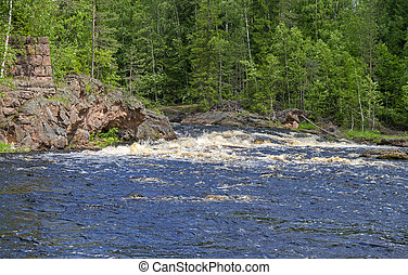 "Rapids ""Edifice"" on Uksun river.  South Karelia, Russia."