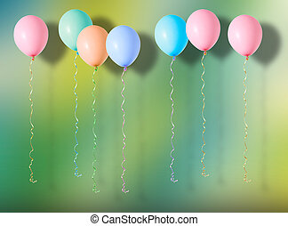 Multicoloured air flying balloons on colourful background