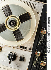 Old reel tape recorder in closeup used