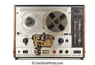 Old reel tape recorder on white background