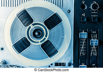 Old reel tape recorder in toning closeup